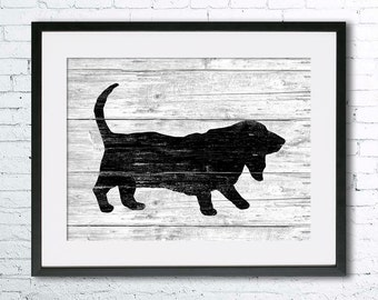 Basset Hound art illustration print, Basset Hound  painting ,dog illustration, Wall art, Rustic Wood art, Animal silhouette, dog art