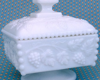 Westmoreland milk glass footed covered candy dish