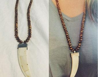 Long Brown Bronze Horn Necklace