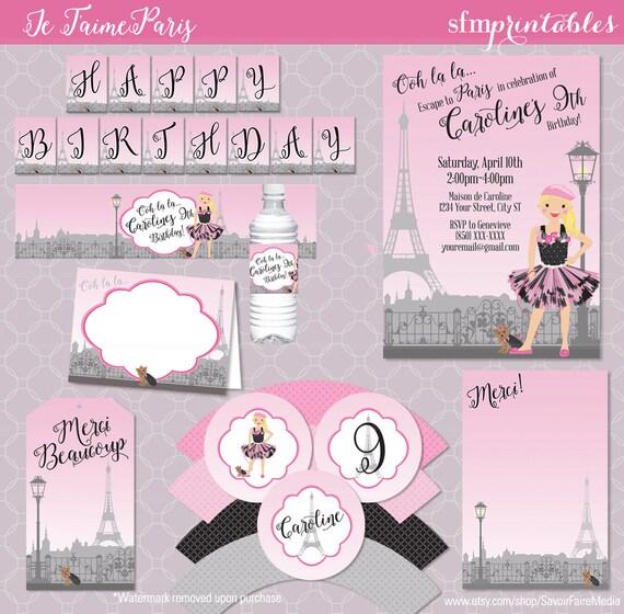 Paris theme birthday invitation party bundle parisian - Salon des seniors paris invitation ...