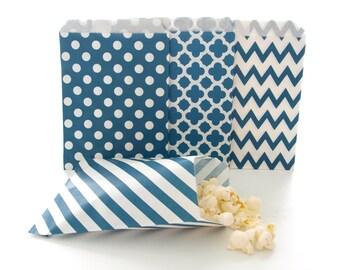 Navy Blue Paper Party Bags (100 Pack) - Stripe, Chevron, Spanish Tile, Polka Dot - Bulk Party Supplies, Candy Buffet Wedding Favor Bags