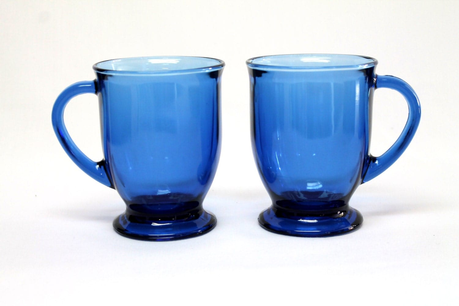 2 anchor hocking large glass coffee tea mugs cups