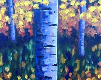 Autumn Aspens, Tree Painting, Original Acrylic Painting, Birch Tree Painting, Aspens Art, Gift Idea, MelidasArt, SALE