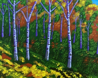 Aspens Painting, Landscape Painting, Birch Tree, Gift Idea, 8x10in,  Made to Order, MelidasArt