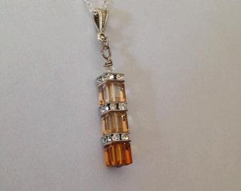 Ombre, Shades of Topaz Swarovski Pendant, Swarovski Crystal, Silver Plated Chain