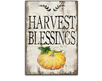 Harvest Blessings wooden sign Autumn signs Fall signs Fall decor pumpkin signs Autumn signs Pumpkin decor handmade12.25x18.25 x3/4 inches