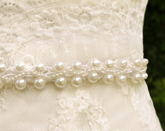 Pearl Wedding Sash, Thin Belt, Thin Bridal Sash,  Ivory Wedding Sash, Pearl Belt, Ivory Bridal Sash, Unique Sash, Pearl Sash- HAILEY