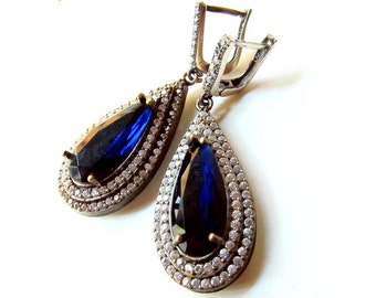 SAPPHIRE like dark blue jade with clear zircons 925 Sterling silver Turkish PEAR earrings