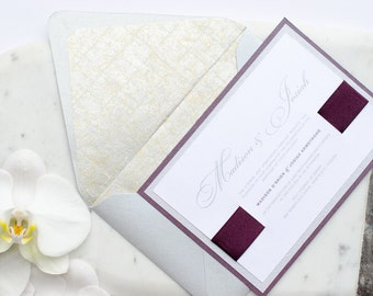 """Posh Invitation Suite – A shimmery deep purple and silver wedding invitation suite from the Simply Sleek Designs """"Simply Chic Collection"""""""