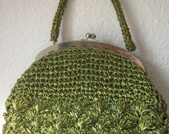 Handbag, bag made of raffia and linen lining, 60ties, vintage