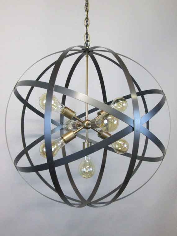 modern industrial orb chandelier ceiling light 24 inch sphere wine
