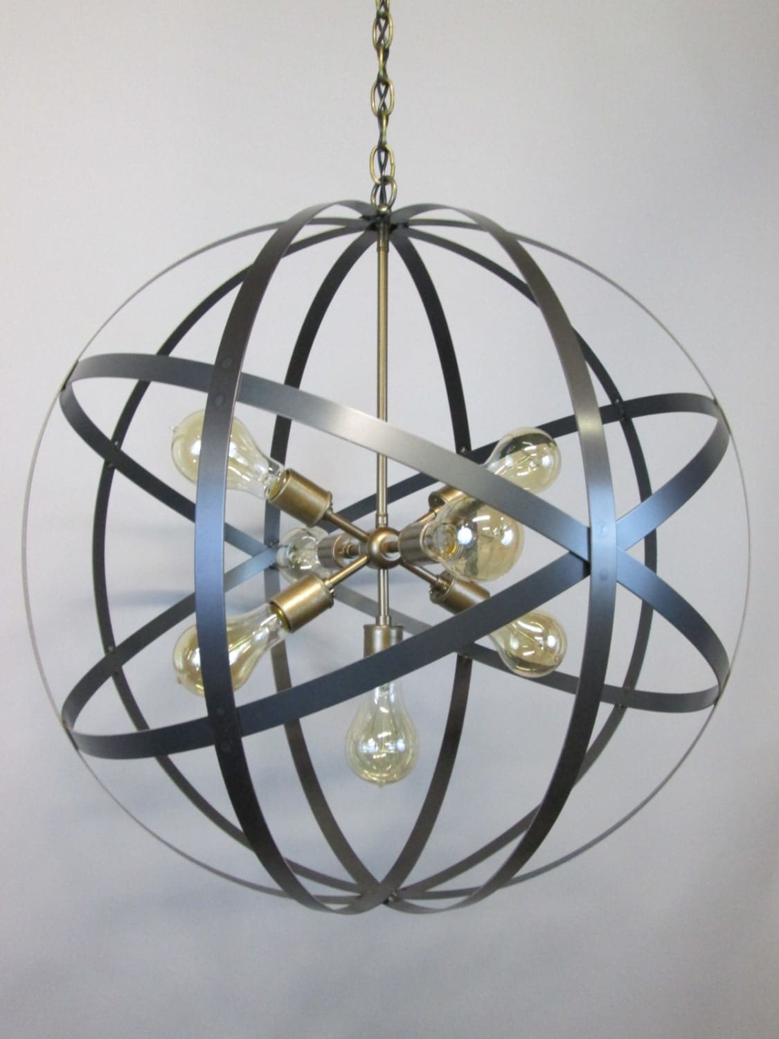 modern industrial orb chandelier ceiling light 24 inch sphere