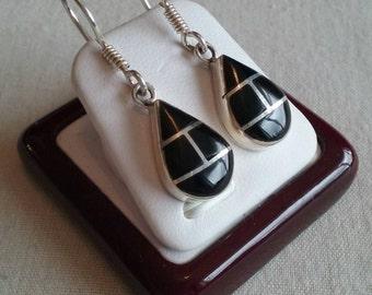925 Sterling Silver multiline earrings in Mexican black onyx stone