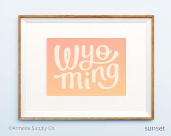 Wyoming Print - Wyoming poster - Wyoming wall art - Wyoming art