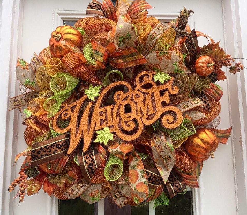 Welcome Fall Wreath Welcome Fall Deco Mesh Wreath Front Door