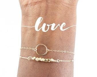 Karma Bracelet, Simple Bracelet, Circle Bracelet, Minimalist Jewelry, Gold Bracelet, Dainty Bracelet, Gifts For Her