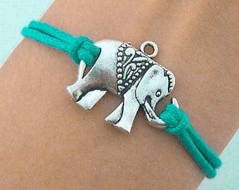 Elephant Bracelet, Charm Bracelet, Vegan Jewelry, Adjustable Women's Gift, Elephant Charm  CH-31
