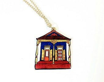 New Orleans Eastlake Shotgun in Teal and Sienna – N. Villere St. Necklace