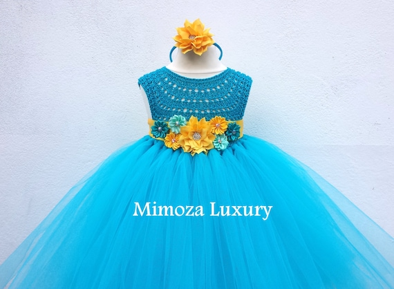 Carribean Blue turquoise tutu dress, birthday dress, aqua blue bridesmaid dress, princess dress, crochet top tulle dress turquoise wedding