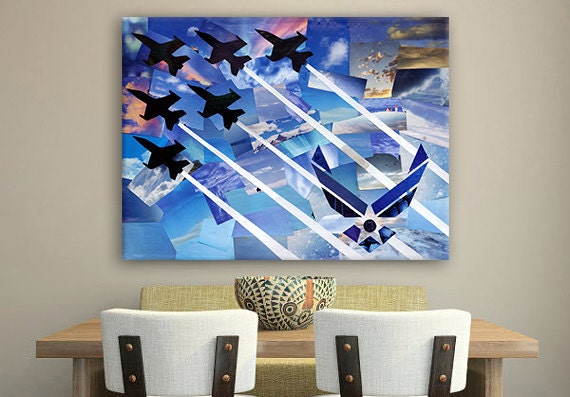 Usaf Wall Decor : Items similar to original air force wall art military home decor christmas gift ideas fighter