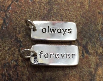 Always Forever Tag, Sterling Silver Always Forever Tag, Always Forever Charm, Always Forever Pendant, Sterling Silver, PS01417