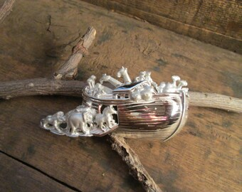 Vintage A.J.C. Silver Tone Noahs Ark Brooch