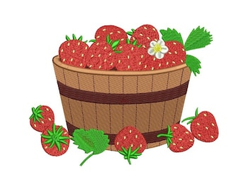 Basket with Strawberries Filled Machine Embroidery Digitized Design Pattern  - Instant Download - 4x4 , 5x7, 6x10