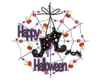 Spider Web and Witch's Boots Happy Halloween Applique Machine Embroidery Digitized Design Pattern  - Instant Download - 4x4 , 5x7, and 6x10