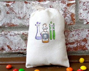 Skull and Crossbones Test Tube and Potion Jars Hand Stamped Cotton Muslin 4x6 Favor Bag perfect for Halloween or Science Parties