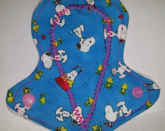 """Blue Peanuts - Reusable Thong -  Pantyliner - 6"""" - Cotton Topper - Snoopy & Woodstock"""