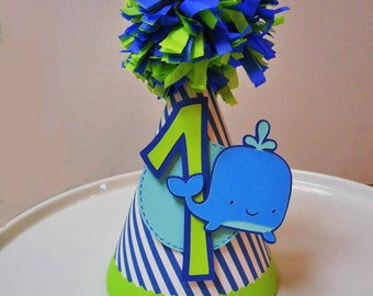 Blue Whale Childrens Paper Party Hat 1st Birthday Nautical Striped Ocean Lime Green Pom Pom Topper