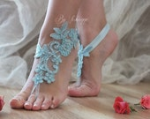 Blue lace wedding barefoot sandals french lace sandals, wedding anklet, Beach wedding barefoot sandals,