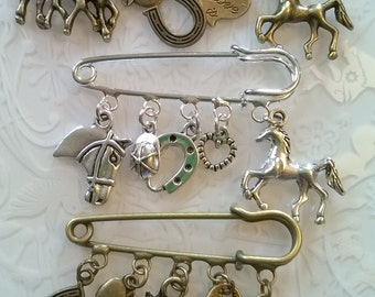 Horse kilt pin brooch~Equestrian brooch~Horse head~apple charms~equestrian gift