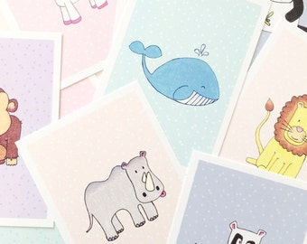Set of 7 postcards · animal illustrations
