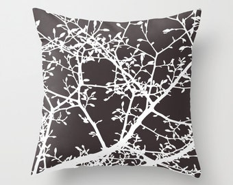 Magnolia Tree Branches Pillow Cover - Dark Brown and White - Modern Pillow -  Woodland Nature Decor - includes insert