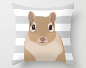 Squirrel Pillow Cover With Gray and White Stripes - Woodland Animal Pillow Cover - Nursery Pillow Cover - Home Decor - Aldari Home