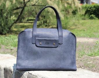 Leather handbag, shoulder bag, womens bag, handmade leather bag, mens bag, Taxi Blue