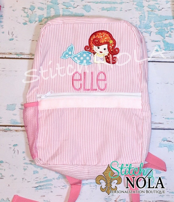 Mermaid Seersucker Backpack/Diaper Bag, Seersucker Diaper Bag, Seersucker School Bag, Seersucker Bag, Diaper Bag, School Bag, Book Bag, Bac