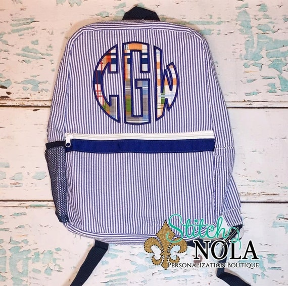 Seersucker Backpack with  Madras Plaid Circle Monogram Applique, Seersucker Diaper Bag, Seersucker School Bag, Seersucker Bag, Diaper Bag, S