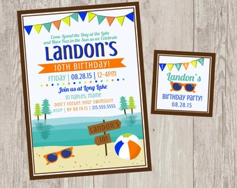 Lake Birthday Party Invitations | Summer Party Printable