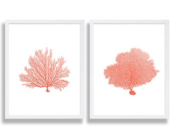 Coral Wall Art Prints Coral Color Decor Coral Prints Water Color Art Living Room Family Room Decor Bed Room Coral Painting Beach House Art