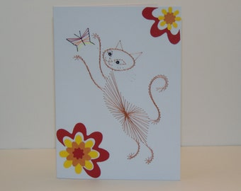 Cat with Butterfly Greeting Card