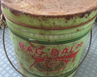 Vintage Bag Balm Tin Pail Primitive and Rusty With Handle Dairy Association Company