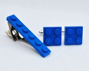LEGO ® Plate Cufflinks and Tie Clip - BLUE