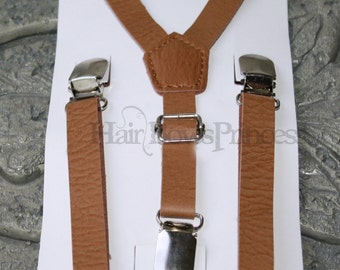 1/2'' inch Vintage Pu Leather Brown Adjustable Suspenders,Tan,brown Kids Boys 6 months-3T,wedding