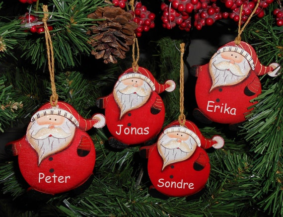 Personalised funky fat santa christmas tree decorations for Personalised christmas decorations