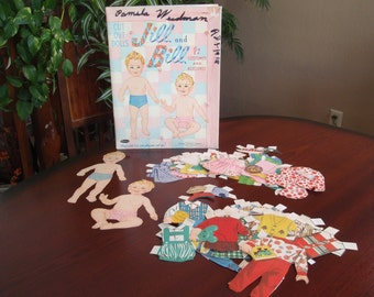 1960 Cut Out Paper Dolls Jill and Bill Clothes Cardboard Tri-Fold Folder Whitman Publishing Co Racine Wisconsin Collectible Toy a1921