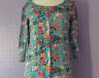 Vintage turquoise floral 3/4 sleeve dress