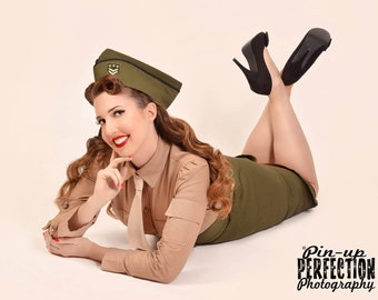 Pinup Military Suit  Pin Up Army Outfit High Waist Skirt Shirt and Tie Wedge Cap Hat Military Cosplay Custom Size including Plus Sizes