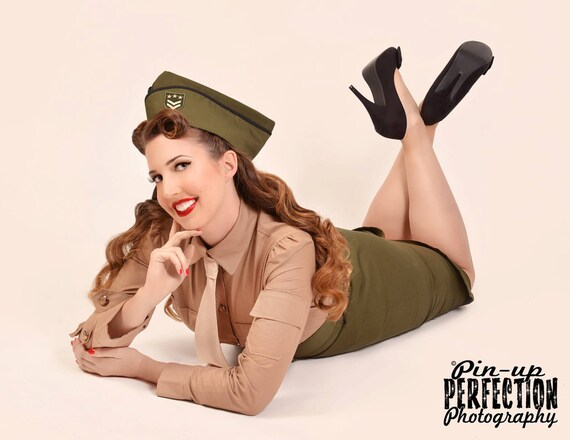 Pinup Military Suit Pin Up Army Outfit High Waist Skirt Shirt and Tie Wedge Cap Hat Halloween Costume Custom Size including Plus Sizes